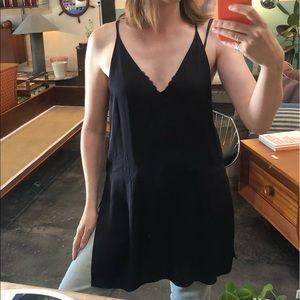 Theory black silk long tank or dress Size L